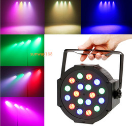 Wholesale Dmx 512 Rgb Led Controller - 10PCS Free shipping Led stage light 18x3W 54W 85-265V High Power RGB Par Lighting With DMX 512 Master Slave Led Flat DJ Auto-Controller