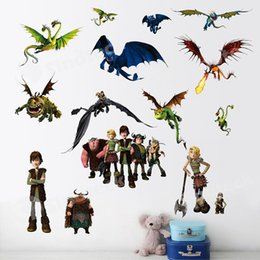 Wholesale Cartoon Train Wall Sticker - How to Train Your Dragon Wall Stickers Removable Vinyl Art Kids Room Decals DIY Free DHL Factory Direct