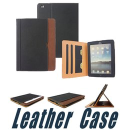 Wholesale Ipad Mini Cases Slots - Black&Tan Laeather Case with Wallet Stand Flip Smart Cover with Card Slots For New iPad 2017 10.5 iPad Air 2 3 4 5 6 Pro 9.7 Air2 Mini Mini4