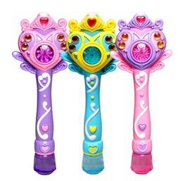 Wholesale Toy Bubble Guns - Fully-automatic bubble machine magic wand bubble gun toy bubble with music and light children party birthday Christmas gift