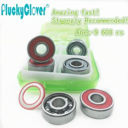 Wholesale Amazing Wheel - Wholesale-Amazing fast!8pc ABEC9 Skateboard wheel Bearing red s 608rs Mini Ball Bearing Red Seal for Inline roller Skates skateboard parts