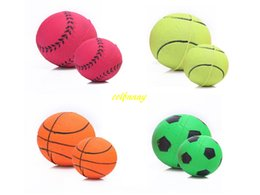 Wholesale Large Play Balls - 100pcs lot Fast shipping 4.7cm & 6.3cm Colorful Rubber Pet Dog Elastic Ball Funny Playing Large Dog Throw Toys