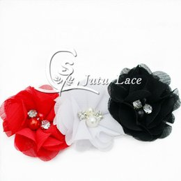 Wholesale Diy Tie Clip - Colorful pearls diamond petals flower chic rose fabric flower, elastic hair tie accessories rhinestone flower, CHIFFON FLOWER hair clip DIY