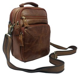 Wholesale Leather Fanny Packs For Men - Wholesale-Fashion Leather Men Waist Pack Brown Messenger Bags Small Shoulder Bag for Men Genuine Leather Fanny Pack Free Shipping