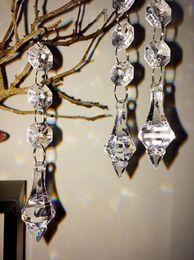 Wholesale Clear Acrylic Ornament - Clear Acrylic Crystal Pendants Hanging Bead Drape Garland Wall Panel Wedding Decor Garland Tassel Screen XMAS Tree DIY party Decorative