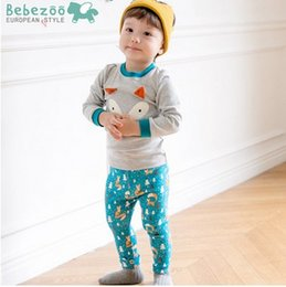 Wholesale Korean Wear Spring - Fox Wear Baby Outfits Korean Cartoon Long Sleeve Tops+Leggings Printed Cotton Children Clothing Sets Autumn Kids Pajamas Set 7347