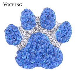 Wholesale Paw Charm Blue - VOCHENG NOOSA 18mm Blue Paw Print Sugar Snap Charms Bling Button Jewelry Vn-1380