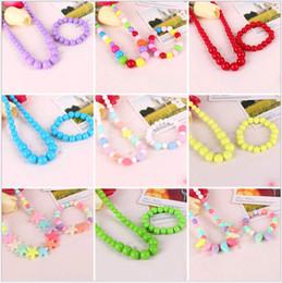 Wholesale Cute Kids Bracelets - Cute Girls Sweet Children Jewelry Accessories 2pcs Sets Hot Sale Kids Necklace Bracelets Set for Gift 26 Colors Wholesale