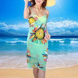 Wholesale Wholesale Black Chiffon Scarves - Women Bikini Cover Up Scarf Chiffon Beach Wear Swimwear Cover-up Sexy Summer Spaghetti Strap Bohemian Flower Cover Ups 2506023
