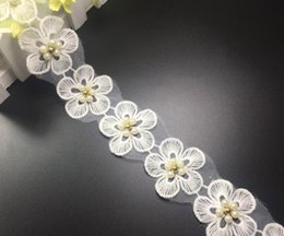 Wholesale Organza Lace Fabric Wholesale - 15Yard Flower Pearl Beaded Organza Lace Fabric Trim Ribbon For Apparel Sewing DIY Collar Doll Cap Hair clip