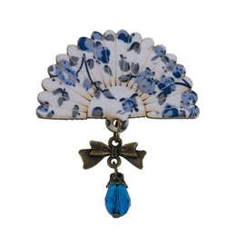Wholesale Antique Bead Wood - 8SEASONS Women Fashion Brooches Pins White & Blue Wood Fan Antique Brass Bowknot With Blue Acrylic Bead 6x4.8cm 1 Piece