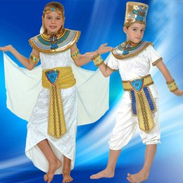 Wholesale Halloween Prince Costume - Boy Girl Ancient Egypt Egyptian Pharaoh Cleopatra Prince Princess Costume for Children Kids Halloween Cosplay Costumes Clothing