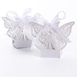 Wholesale Red Laser Cut Paper - 100pcs Butterfly Laser Cut Hollow Carriage Baby Shower Favors Boxes Gifts Candy Boxes Favor Holders With Ribbon white pink red color