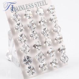 Wholesale Wholesale Big Studs Earrings - TL Stainless Steel Stud Earrings Pure Clear Big Cubic Zircon Fashion Earrings For Women Korean Crystal Earrings Party Jewelry