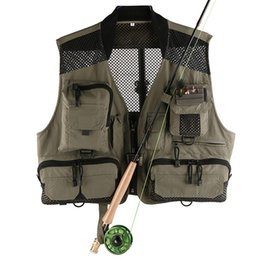 Wholesale Breathable Fishing Jacket - Men's Mesh Breathable Fly Fishing Vest Outerwear Waistcoat Quick Dry High Quality Multifunctional Pocket Outdoor Sports Fish Jackets