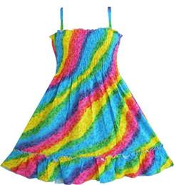 Wholesale Girl Smocked Dresses - Girls Dress Rainbow Smocked Halter Children Clothing SZ 2016 Summer Princess Wedding Party Dresses Girl Clothes Size 2-10
