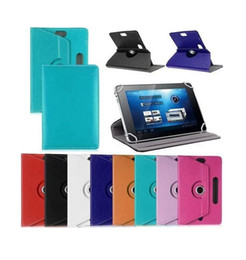 Wholesale tablets universal covers - 7 inch Tab Leather Case 360 Degree Rotate Protective Stand Cover For Universal Android Tablet PC Fold Flip Cases Built-in Card Buckle