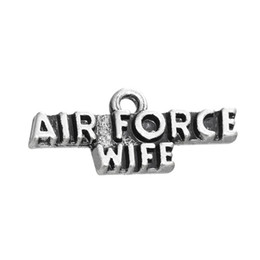Wholesale Air Force Wife - HOT ! 50pcs a lot antique silver plated air force wife military charm