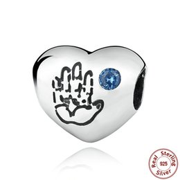 Wholesale Pandora Baby Charms - Baby Boy Silver Charm with Blue Cubic Zirconia Genuine 925 Sterling Silver for Original Pandora DIY Jewelry S263