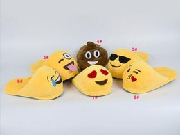 Wholesale Slippers For Children - Emoji Slippers Emoji Smile Cartoon Plush Slipper Shoes Emoji Soft Warm Household Winter Slippers for Children 20cm Embroidery Slippers