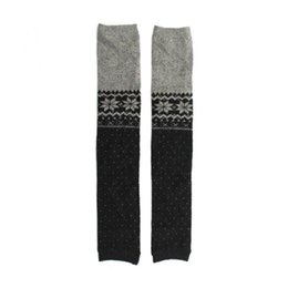 Wholesale Gray Knee High Boots Women - Wholesale-Leg Warmers Boot Snow Sock Knee High Socks 2016 New Women Girls Trim Rabbit Cashmere Knit 3 Colors Black Gray Coffee For choice