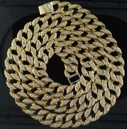 Wholesale China Yellow - Mens Iced Out CZ Cuban Chain Necklace 14K Yellow Gold Silver SiPlated CZ Polished Mens Necklace