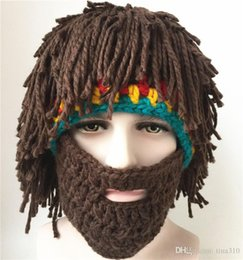 Wholesale Mad Men Hats - New Wig Beard Hats Hobo Mad Scientist Rasta Caveman Handmade Knit Warm Winter Caps Men Women Halloween Gift Funny Party Mask Beanies B0619