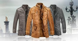 Wholesale Dotted Trench - 2016 New Motorcycle Leather Jacket Men Winter Thick Warm Vintage PU Leather Jackets Military Mens Trench Coat