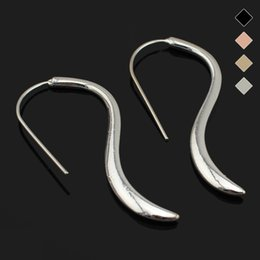 "Wholesale Earrings Hoops Wave - Wholesale- Trusta Fashion New Gold Silver Black Coffee Rose Gold Tone Earring 1""X2.2"" Waves Stud Girls Lady ZC11Cool Best Quality Jewelry"