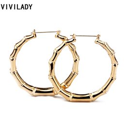 Wholesale Basketball Wives Fashion Jewelry - Wholesale- VIVILADY Hot Larger Bamboo Hoop Earrings Women Basketball Wives Summer Spring Autumn Fashion Jewelry Girl Bijoux Accessory Gifts
