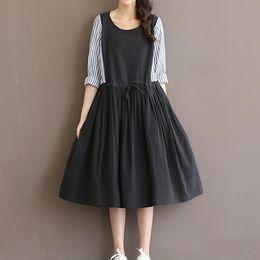 Wholesale Girls Korean Striped Dress - Robe Vintage 2016 Hot Women Plus Size Cotton Linen Dress Korean Style Long Sleeve O Neck Big Swing Mori Girl Midi Dress S-XXL