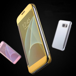 Wholesale S Chrome Case - Plating Mirror Leather Case Clear Window View Chrome Flip Electroplate Phone Case Cover for iphone 6 6 S 7 7 Plus Galaxy S7 S6 edge S8 Plus