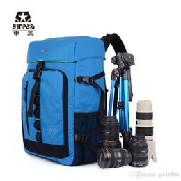 Wholesale Hiking Backpack Camera - Trekker DSLR Camera Bag Photo Shoulder Bag Nylon Backpack Bag Blue Camera Photo Bag Backpacks 100% Genuine