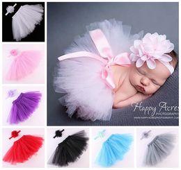Wholesale Wholesale Tulle Skirt - little girls tutu skirts baby girls chiffon flower headbands + tulle tutus skirt and tops set newborn photography props pettiskirt wholesale