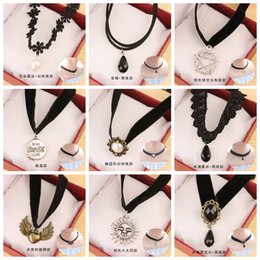Wholesale Wholesale Rhinestone Spider Necklace - Mixed Styles Punk Gothic Style Vintage Flower Lace Collar Velvet Ribbon Neckband Spider Starfish Rhinestone Tattoo Statement Choker Necklace
