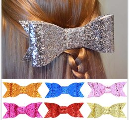 Wholesale Shiny Bow - Baby Girl Shiny gold glitter Sequin Hair Bows barrettes Children Hair Accessories Baby Hairbows Girl Hair Bows 8colors for pick 10x4cm