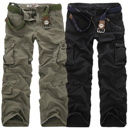 Wholesale Mens Camo Pants Fashion - Mens Military Army Combat Cotton Camo Cargo Pants tactical Casual Mens Pant Multi Pocket Outdoor Long Straight Trousers Plus Size 28-40