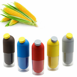Wholesale Cup Corn - Creative sports water bottle Corn capsule healthy kettle double cup coffee milk Fashion dinnkware five colors I-98 free shipping