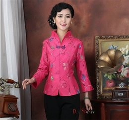 Wholesale Tang Suit Women - Hot Pink Chinese Women's Satin Long Sleeve Jacket Classic Style Turn-down collar Embroidery Floral Tang Suit Coat Size S TO 3XL