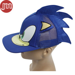 Wholesale Baseball Figures - New 1 PCS Blue Sonic The Hedgehog Adjustable Baseball Cap Cartoon Adult Cosplay Hat Perimeter 55cm Free Track Code