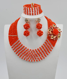 Wholesale Earings Bracelets - Orange African Beads Jewelry Sets Bridal Crystal African Jewelry Sets Necklace earings bracelet Free shipping by DHL