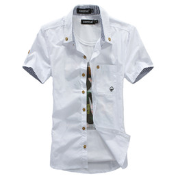 Wholesale Mushroom Blend - Wholesale-The new summer Style men's shirt style dress embroidered stripes hit color mushroom cultivating short-sleeved The Fashion Design