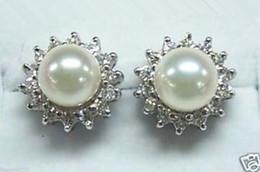 Wholesale Akoya Pearls Silver - 2016 new of Peking, China <<New 8-9mm White Akoya Cultured Pearl Stud Earring AAA Inlay Rhinestone