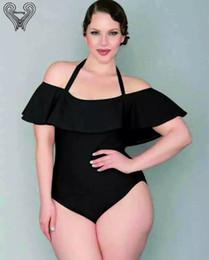 Wholesale One Shoulder Bikini Swimwear - Wholesale- Ruffle Plus Size Swimwear One Piece Swimsuit 2017 Velvet Monokini Off The Shoulder Bikini Push Up Swim suits Vintage Beachwear