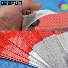 Wholesale Vinyl Strip Door - 50PCS 5*30cm Car Reflective Stickers Warning Strip Reflective Truck Auto supplies Night Driving Safety Secure Red White Sticker