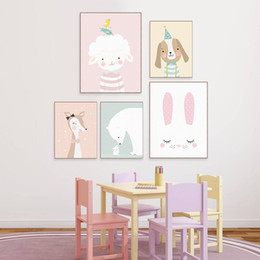 Wholesale Canvas Dog Art - Cute Cartoon Animal Deer Bear Dog Poster Nordic Wall Art Print Picture Canvas Painting Kawaii Baby Kids Room Home Decor No Frame