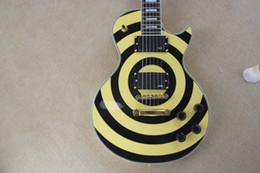 2019 guitarras emg Preço de fábrica Custom Shop 6 Cordas EMG pick-up Zakk Wylde Bullseye Amarelo preto Círculo Guitarra Elétrica Frete grátis guitarras emg barato
