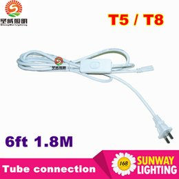 Wholesale Led Lamp Extension - US Plug 6ft T5 T8 LED Tube Wire switch Connector With ON OFF Switch Power Cord Extension Pigtail Cord for Lamp Light Port