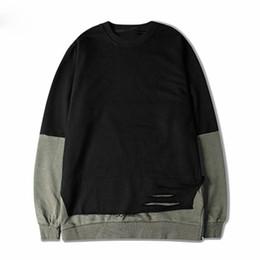 Deutschland Brand Ripped Side Zip lose Hoodies Sweatshirts schwarz braun Patchwork Hit Farbe Hoodie Hip Hop Streetwear cheap zip hoodie brown Versorgung