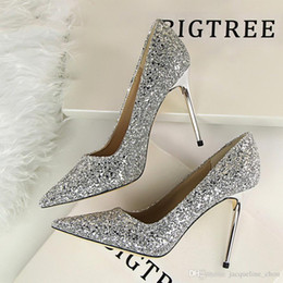 Wholesale European Wedding Stiletto - European and American style women high heels dress shoes shallow mouth pointed toe shining sequins sexy club pumps 9219-1